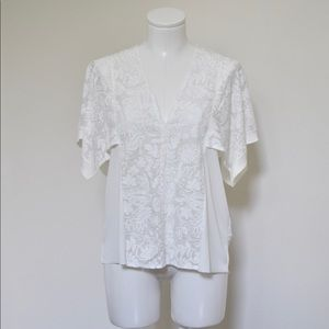 Zara White Floral Embroidered Cap Sleeve Top NWOT